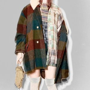 Jackets & Blazers - Sold 💕 Twin peaks shearling and wool plaid coat